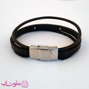 قیمت دستبند چرمی و استیل مردانه سه ردیفه