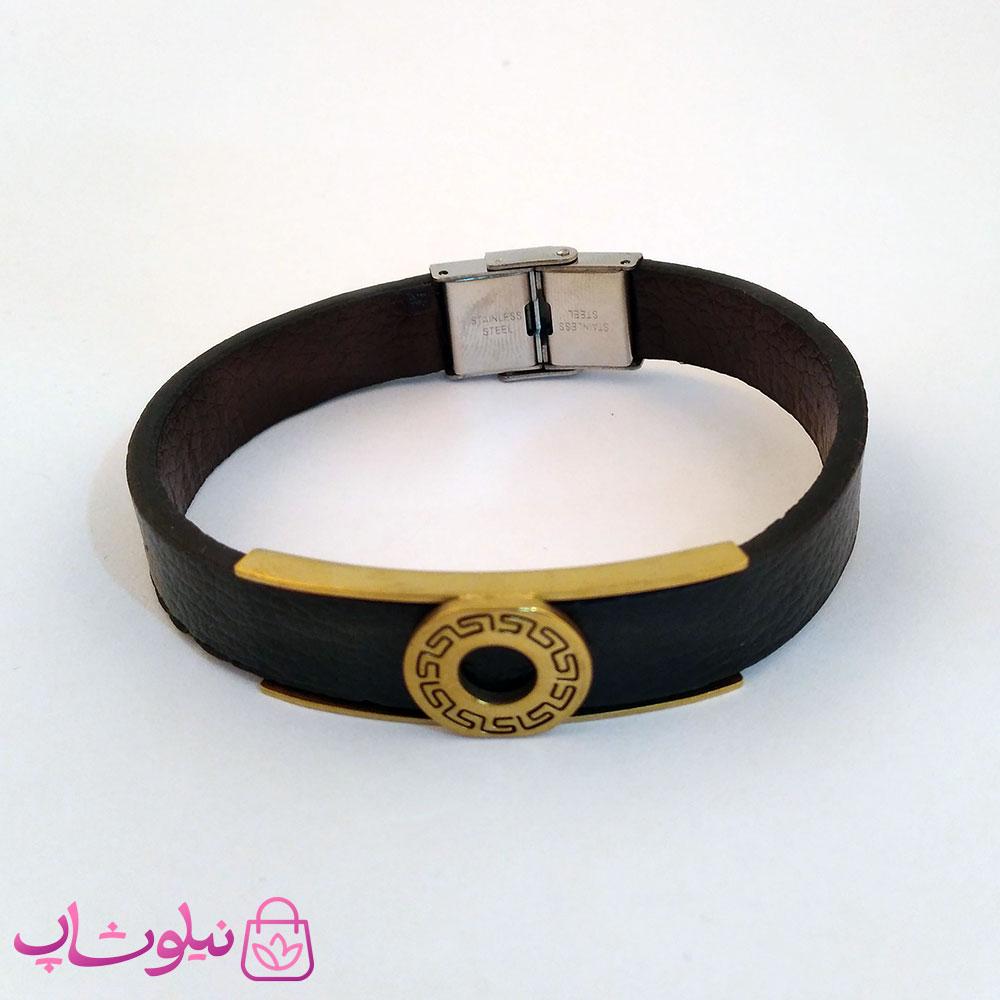 دستبند چرمی و استیل مردانه ورساچه