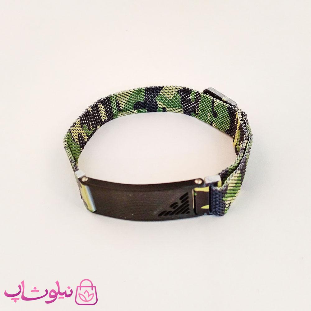 دستبند پسرانه امپریو آرمانی طرح چریکی سبز