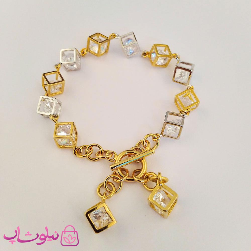 دستبند زنانه ژوپینگ طرح مکعب با آویز