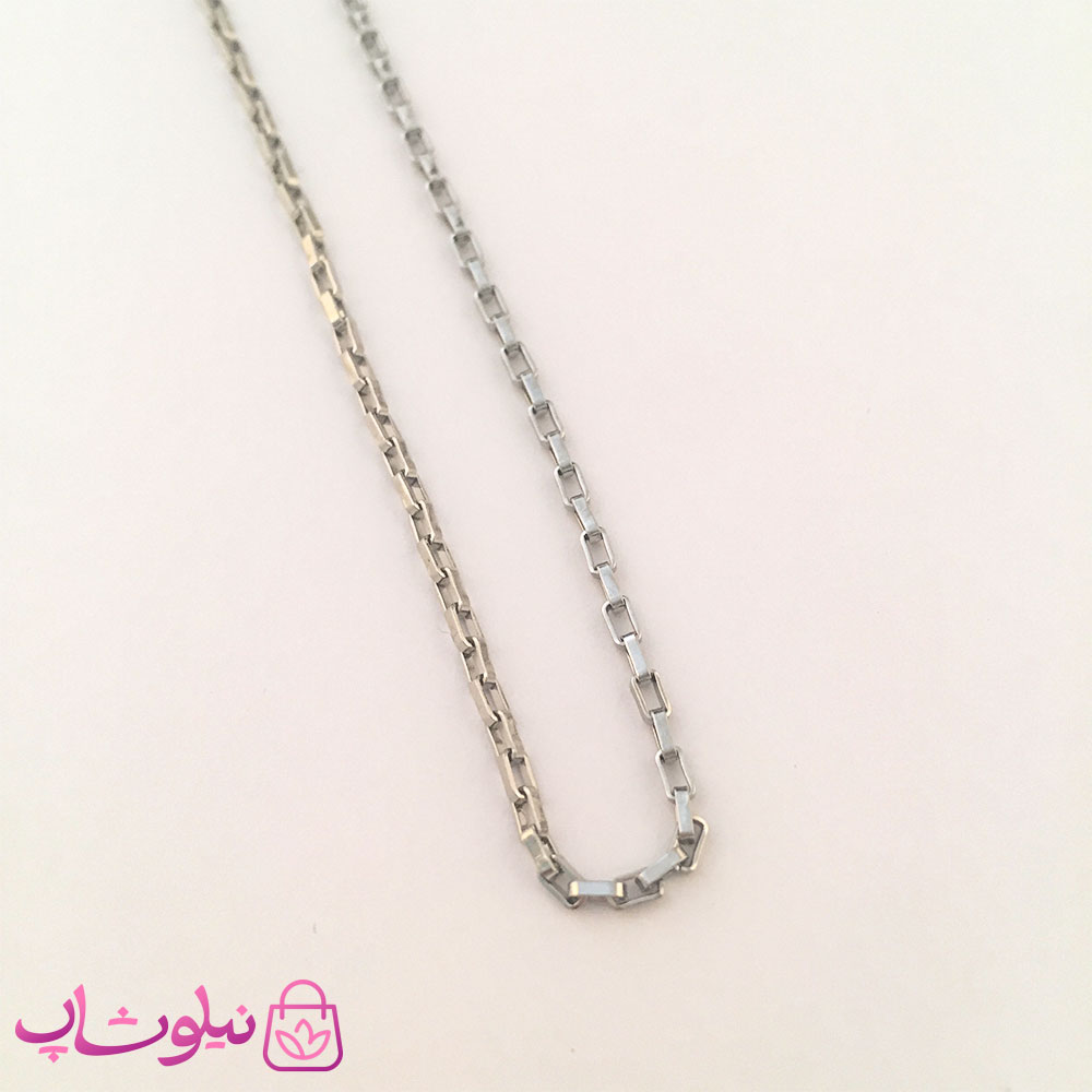 خرید زنجیر زنانه استیل نقره ای