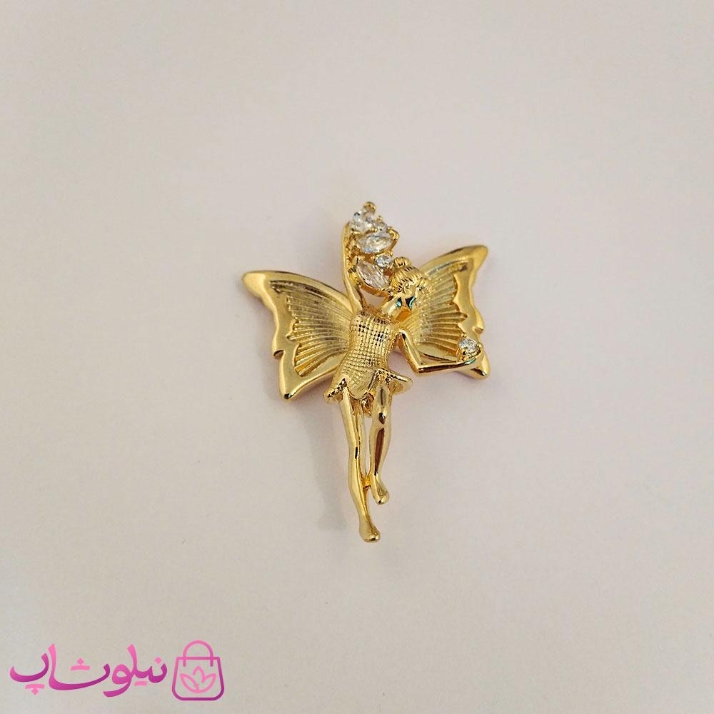 آویز گردنبند زنانه ژوپینگ طرح فرشته با بال پروانه