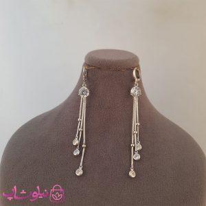 خرید گوشواره زنانه آویز بلند ژوپینگ نقره ای
