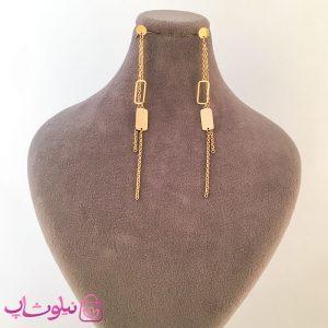 گوشواره زنانه آویز بلند ژوپینگ طلایی
