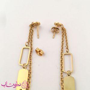 خرید گوشواره زنانه آویز بلند ژوپینگ طلایی